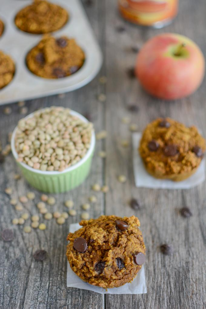 Pumpkin Apple Lentil Muffins with chocolate chips