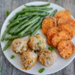 plate of apple cheddar turkey meatballs