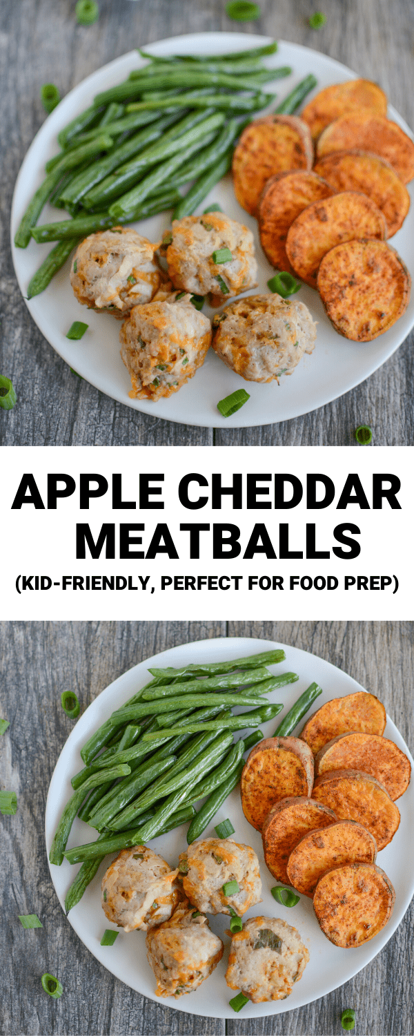 These Apple Cheddar Turkey Meatballs are kid-friendly and perfect for food prep! They're full of flavor and make a great party appetizer or family dinner.