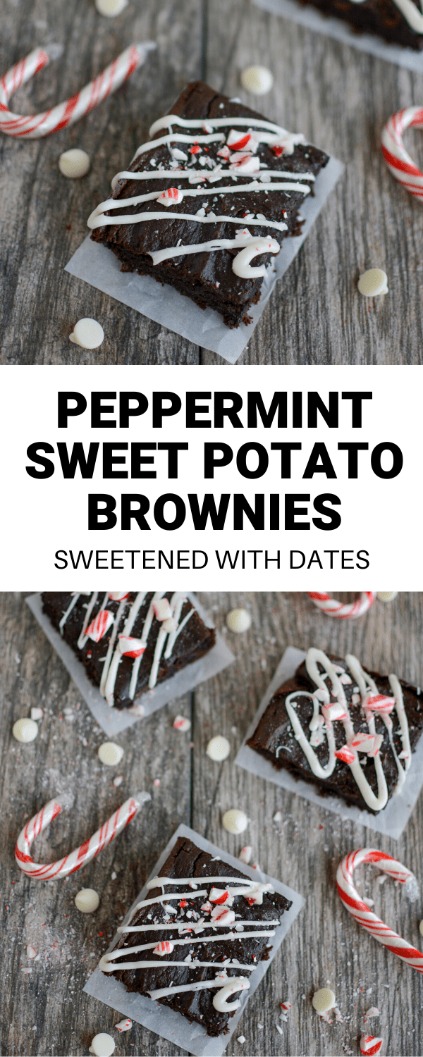 These Peppermint Sweet Potato Brownies are the perfect holiday dessert! They're gluten-free and sweetened with dates. Add them to a Christmas cookie tray or bring them to a potluck or party.