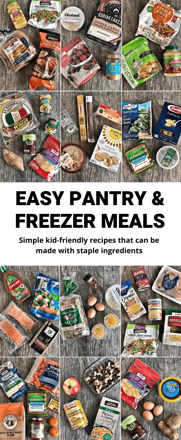 These Easy Pantry and Freezer Meals use staple ingredients, plus a few things that last a while in the fridge, to make simple, kid-friendly dinners.