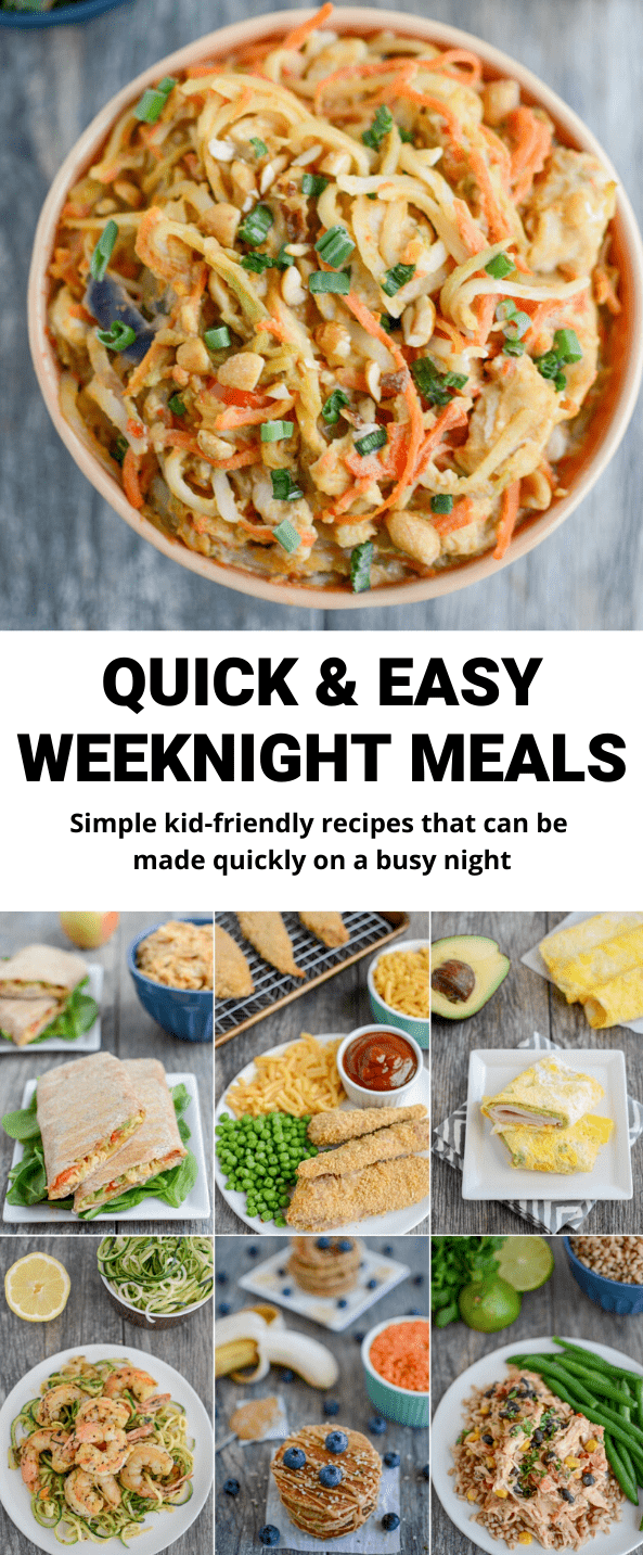 These easy weeknight meals rely on a lot of fridge, freezer and pantry staples so you should be able to make them fairly quickly for lunch or dinner at almost any time!
