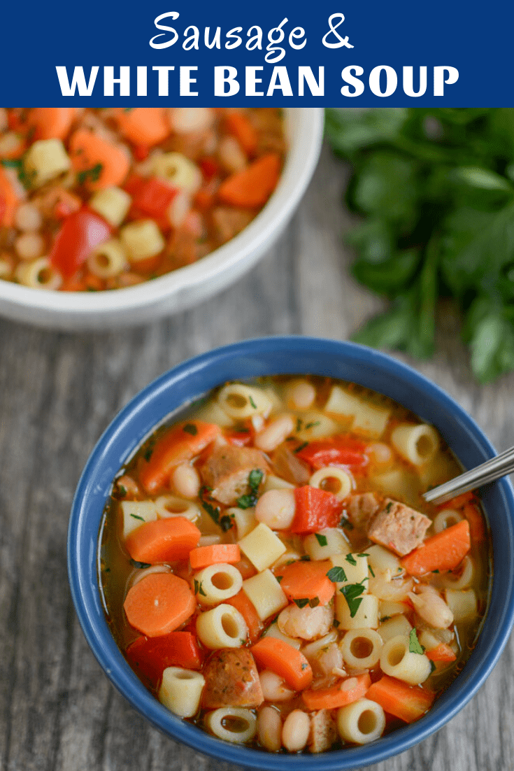 This Sausage and White Bean Soup is simple to make, full of flavor and freezes well for lunch or dinner. Use your favorite sausage or double the beans for a vegetarian version.