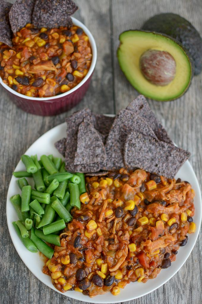 Instant Pot Farro Enchilada Casserole with green beans, tortilla chips and avocado