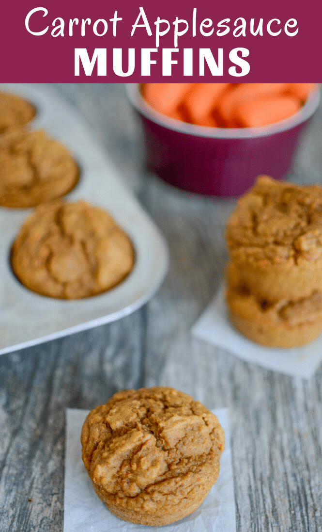 These Carrot Applesauce Muffins are lightly sweetened and kid-friendly. Made with pantry staples, they freeze well and are great for a healthy breakfast, lunch or snack!