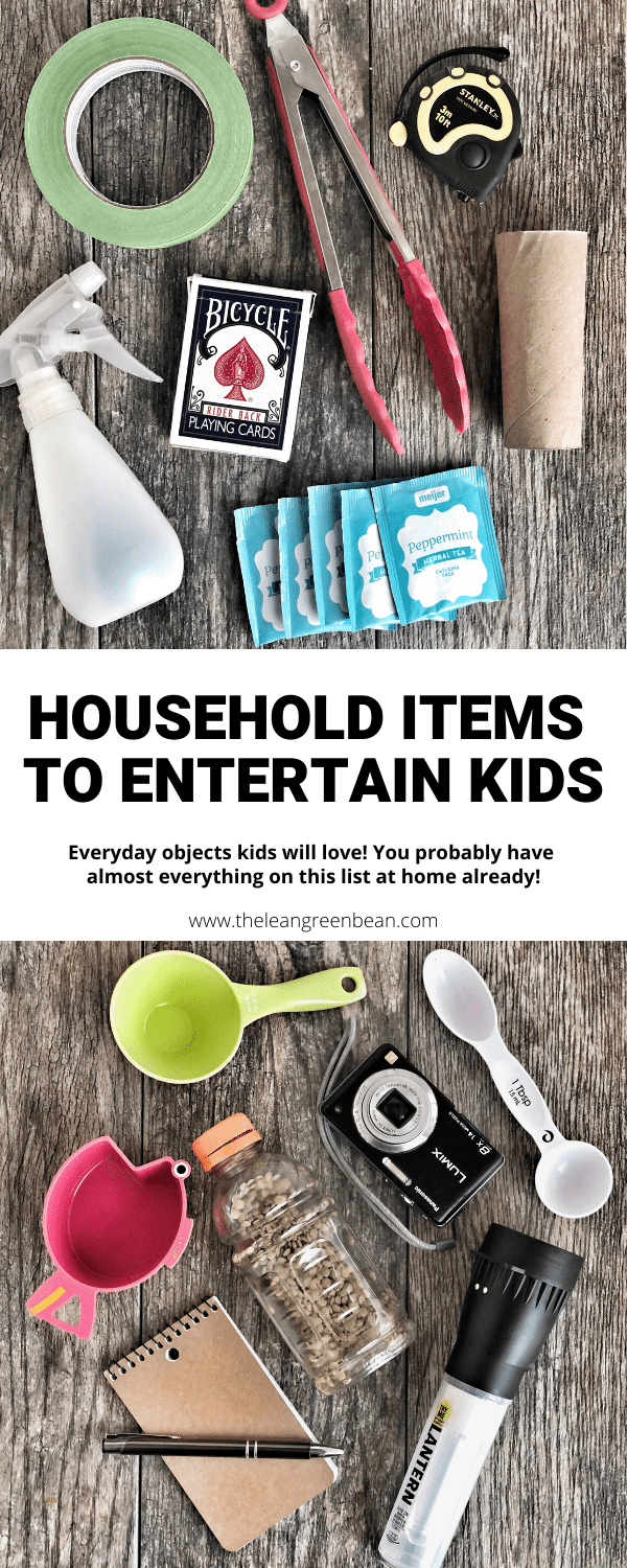 These everyday household item toys just might keep your kids entertained for a surprisingly long time. You likely have most of them at home already! Great for babies and toddlers too!