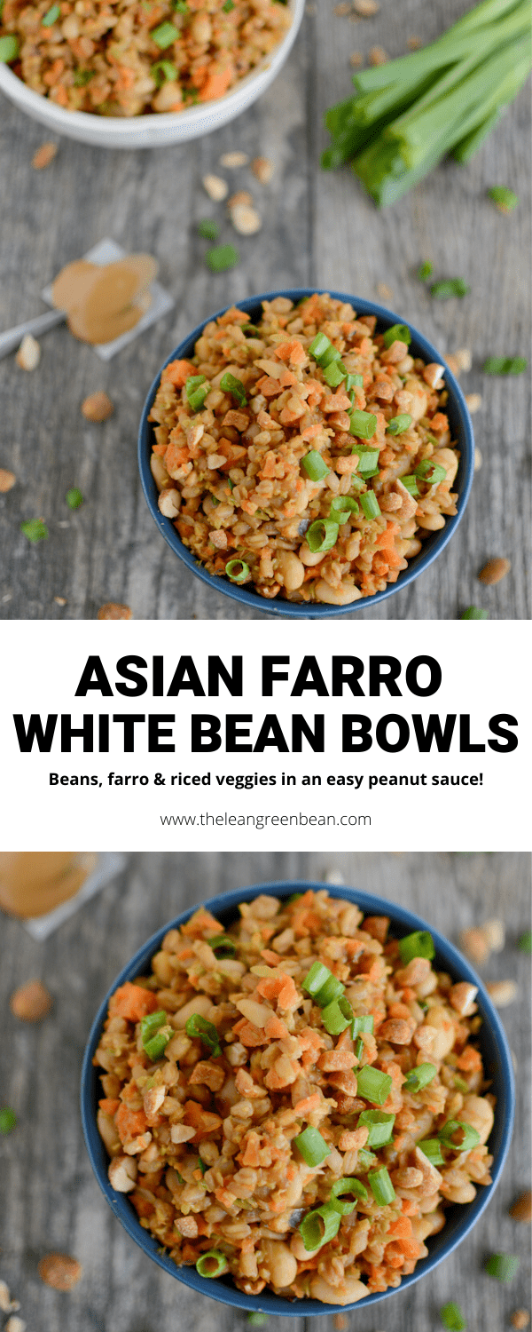 This Asian Farro White Bean Bowls recipe is perfect for a quick and easy vegan dinner. Ready in 15 minutes and full of flavor.