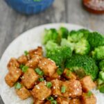 Honey Garlic Air Fryer Tofu with white rice and broccoli