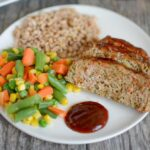 Easy turkey meatloaf recipe with vegetables, farro and mixed vegetables