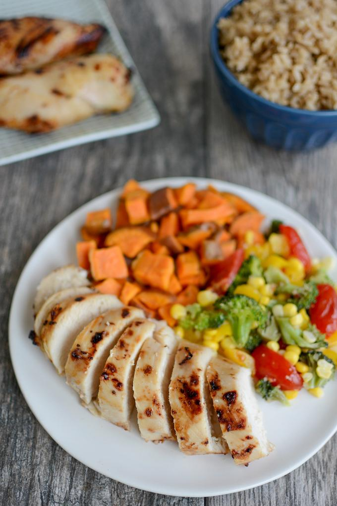 Easy Chicken Marinade - air fryer chicken with sweet potatoes and broccoli corn salad